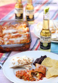 Mmm … Easy Low Carb Chicken Guacamole Enchiladas! Recipe at LivingLocurto.com