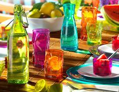 Colorful table setting. Perfect for summer. Joss and Main