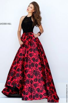 Wedding Dresses, Bridesmaid Dresses, Prom Dresses and Bridal Dresses Sherri Hill - Style 50245 [50245] - Sherri Hill, Spring 2016. Easy to wear and oh-so-flattering halter bodice in black duchess satin is perfect with our exclusive art deco inspired red and black print ball gown skirt. Notice the pockets?