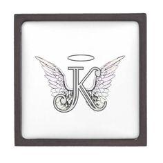 Letter K Initial Monogram with Angel Wings & Halo artwork alphabet letter for Amelian Angels amelianangelscom
