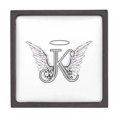 Letter K Initial Monogram with Angel Wings & Halo artwork alphabet letter for Amelian Angels amelianangelscom