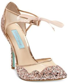 The Stela evening sandals by Blue by Betsey Johnson update your look with sparkling style and an ultra-feminine ribbon tie at the ankle.   Imported   Glitter upper   Almond closed-toe evening sandals