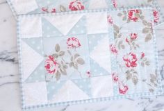 Shabby Chic Mug Rugs  Place Mats  Candle Mats  Blue  by KeriQuilts, $23.00