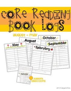 Common Core Standards Reading Book Logs