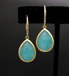 gold plated brass framed ice mint glass quartz  teardrop with vermeil gold hook with cz. - Free US shipping. $34.00, via Etsy.