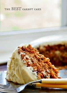 A Pinner writes: The BEST carrot cake recipe I have ever found! A buttermilk glaze seeps into the warm cake layers making it extra moist. Then a delicious cream cheese frosting is added to bring all the flavors together. It's even BETTER the next day! Just Desserts, Delicious Desserts, Yummy Food, Baking Recipes, Cake Recipes, Dessert Recipes, Easter Recipes, Food Cakes, Cupcake Cakes
