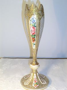 A post from Antique Harrach cut to clear white overlay glass vase with enameled flowers and gilt decor. Glass Collection, Overlays, Glass Vase, Antiques, Flowers, Home Decor, Antiquities, Antique, Decoration Home