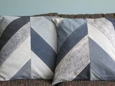 Upcycled 18 inch Denim Chevron Patchwork Pillow Cover Pair