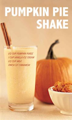 A can of filling often yields more than what's required for a pie. That extra puree, however, is just enough to blend into a a delicious milk shake. Halloween Drinks, Halloween Food For Party, Halloween Treats, Fall Halloween, Happy Halloween, Pumpkin Recipes, Fall Recipes, Holiday Recipes, Drink Recipes