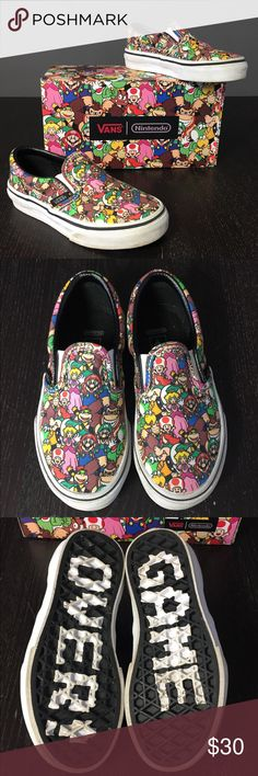 Nintendo Vans Super Mario Bros.  Slip-on Sneakers Vans Nintendo  Limited Edition/ Hard to Find! Super Mario Bros Slip-on Sneakers ⭐️EUC⭐️ Size: Toddler 11  Super cool and absolutely ADORABLE classic Vans adorned with the awesome characters from Super Mario Brothers. ✨ Only worn a couple of times. ✨Purchased for my son but are actually gender neutral. Box is included! Trades Fast shipping! Bundle multiple items from my closet to save even more!  Vans Shoes Sneakers