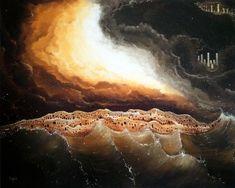"""Título: Tempestad Indiferente Tamaño: 80 x 100 cm Técnica: Óleo sobre Bastidor Descripción: """"La indiferencia de las multitudes hacia los problemas, tempestades actuales en una misma sociedad."""" Celestial, Artworks, Paintings, Sparkle"""