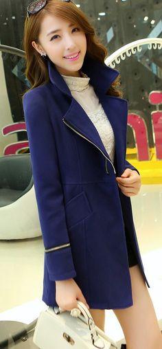 Stylish Korean Double Zip Coat YRB0424 #navyblue