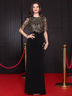 TS Couture® Formal Evening Dress Trumpet / Mermaid Scoop Floor-length Lace / Jersey with Lace - USD $119.99