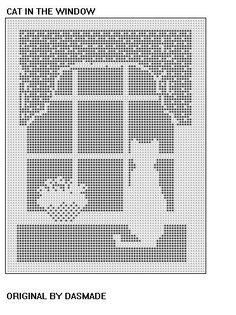 Filet häkeln Katze In das Fenster Muster Afghan von dasmade auf Etsy