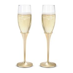 Show off your signature style with these gold princess personalized champagne toasting flutes. The classic gold color is embellished with crystals around the neck of the flutes. https://www.thingsremembered.com/princess-gold-champagne-flutes-set/product/336577?fcref=pinterest