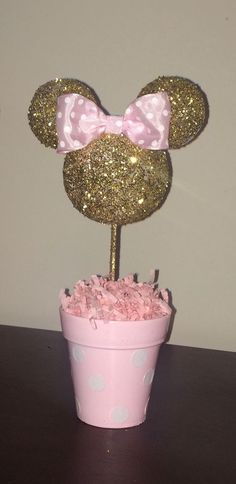 Pink and Gold Glitter Minnie Mouse inspired Centerpiece, Minnie Birthday, Minnie party decoration, Minnie baby shower by AmyJays on Etsy https://www.etsy.com/listing/290110659/pink-and-gold-glitter-minnie-mouse