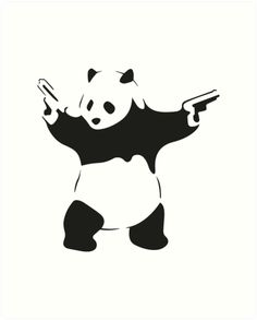 """One of the most recognizable art pieces of all time meets Banksy, the most recognized graffiti artist ever in this Wall Decals. Now coming to your walls. """"Banksy is perhaps. Graffiti Tattoo, Banksy Panda, Wall Sticker Design, Banksy Art, Neue Tattoos, Free Stencils, Cute Panda, Panda Panda, Cute Cars"""