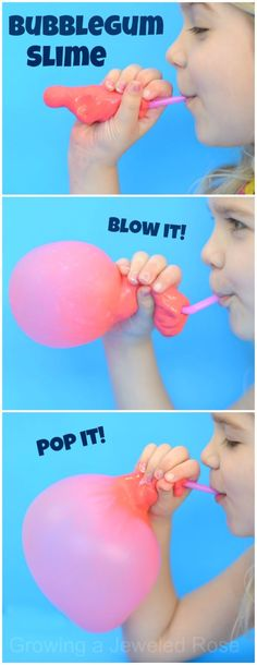 BUBBLEGUM SLIME recipe- this stuff is SO COOL!  It looks, feels, smells, & acts just like real bubblegum!