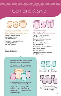 Scentsy combine and Save info for Fall and winter 2014. Companion System/Perfect Scentsy/3 pak/ 6 pak/ Host rewards. Contact me to order at www.perpetuahollis.scetsy.us
