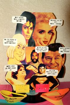 Iconic characters of the '80s: Michael Jackson, Madonna, Reagan, Mr. T, Superman, MaryLou Retton, He-Man
