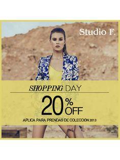 Acércate a nuestra tienda y disfruta del 20% de descuento que tenemos en prendas seleccionadas! #StudioF