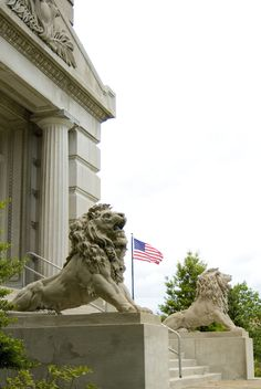University City, MO : Lion statues at City Hall entry (southeast);  These lions scared me to tears when I was little.