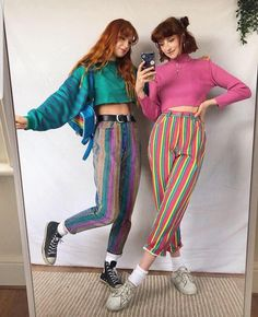 The OG stripy jean queens 🌈🌈🌈 Which look is your favourite? Mine is 2 a… The OG stripy jean queens … 80s Fashion, Fasion, Vintage Fashion, Fashion Outfits, Fashion Trends, Petite Fashion, Fashion Bloggers, Curvy Fashion, Fall Fashion