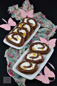 Rulada cu crema de branza si piersici - CAIETUL CU RETETE Penne, Deserts, Birthday Cake, Health, Moldova, Food, Birthday Cakes, Health Care, Desserts