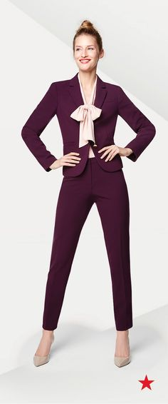 Command attention in the courtroom or boardroom with well-fitted suit pants and jackets. This wine-colored style from Calvin Klein pairs perfectly with nude pumps and a structured tote.
