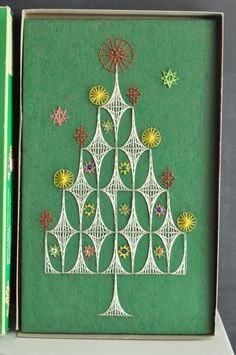 Vintage String Art Handmade Christmas Tree Project by drowsySwords Handmade Christmas Tree, Christmas Love, Vintage Christmas, Xmas, Fun Crafts, Arts And Crafts, String Crafts, Paper Embroidery, Art Plastique