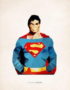 Polygon Heroes by James Reid - Superman James Reid, Catwoman, Graphic Design Illustration, Illustration Art, Superman Art, Superman Poster, Thor, Polygon Art, Geek Art