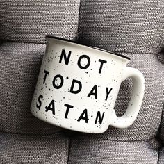 Not Today Satan / Not Today / Ceramic Coffee Mug / Stoneware Mug / Coffee Mug / Mug / Cute Mug / Campfire Mug / Speckled Mug / Ceramic Mug - DIY Tattoo dauerhaft Coffee Love, Coffee Shop, Coffee Cups, Tea Cups, Coffee Beans, Cute Mugs, Funny Mugs, Mug Design, Stoneware Mugs