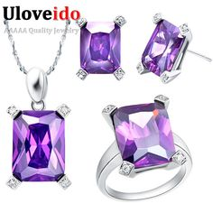 Find More Jewelry Sets Information about Free Shipping Cheap Purple Cubic Zirconia Necklace 925 Silver Set Square Wedding Jewelry Sets for Brides Women Jewelry Set T150,High Quality set up print screen,China set bedding Suppliers, Cheap set emerald from ULOVE Fashion Jewelry on Aliexpress.com
