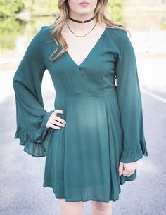 Bell sleeve are about to become your new favorite thing!💕 #xoxoAL4You #bellsleeves #favtrend #emeralddress #shopALB Emerald Isle Bell-Sleeve Dress $54 Shop through our JotForm link or call (406)721-2280 and order!💚 http://form.jotform.us/form/52044697810154