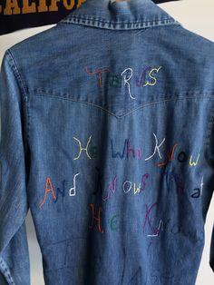 Embroidered denim shirt