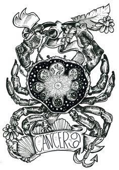 cancer zodiac tattoo moonchild the moon Cancer Star Sign Tattoo, Cancer Crab Tattoo, Cancer Tattoos, Zodiac Sign Tattoos, Zodiac Signs, Tatoo Art, Arm Tattoo, Tattoo Moon, Armband Tattoo