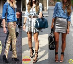 Look do Dia = Camisa Jeans + Metalizado