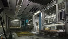 """cyberclays: """"Fifth Element - by Titus Lunter This weeks patreon was a lot of fun to do. The topic was Fifth Element and I reimagined Korben Dallas' apartment in a retro sci-fi style. Painted the whole thing and recorded it too. Spaceship Interior, Futuristic Interior, Science Fiction, Environment Concept Art, Environment Design, Matte Painting, Blade Runner, Sci Fi Rpg, Fifth Element"""