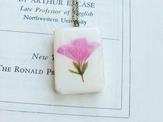 Pressed Flower Necklace Real Pink Geranium Flower in by KateeMarie, $32.00