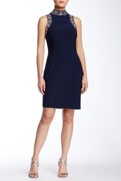 Sleeveless & Beaded Jersey Sheath Dress by Marina on @nordstrom_rack