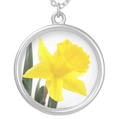 Narcissus Daffodil Personalized Necklace - $37.90 - Narcissus Daffodil Personalized Necklace - by RGebbiePhoto @ zazzle - A vibrant yellow narcissus daffodil isolated against a white background.