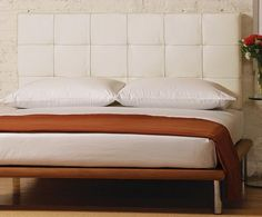 Charles P. Rogers Beds Direct Poole White Leather Headboard, Leather & Upholstered Beds - Our Poole leather headboard is a wall mount queen or king size headboard for use in combination with our Solide, Mies, Madera or Delise platform beds or as a headboard alone with any bed. It is upholstered in a rich and supple white full-grain leather. - Queen headboard also works