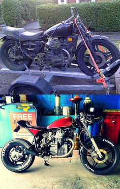 CX500 cafe racer: Before and after.