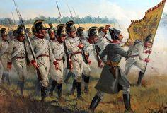 The Kaiserlich-Konigliche Armee advances under French counter-fire.