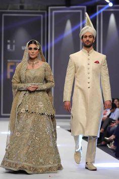 Deepak Perwani showcased new bridal collection at Fashion Pakistan Week in Lahore. Bridal Collection, Dress Collection, Next Wedding, Pakistani Wedding Dresses, Sherwani, Woman Clothing, Grooms, Bees, Asian