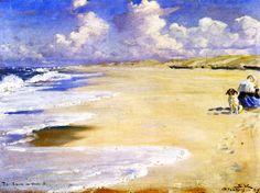 Peder Severin Krøyer, Marie Krøyer Painting on the Beach at Stenbjerg