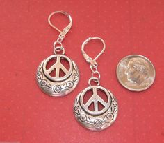 PEACE SIGN Daisy Flower Silver Plated LEVERBACK earrings or Silver Tone kidney  #BusyBeeBumbleBeads #DropDangle