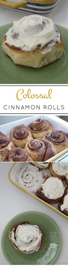 Stress Baking | Colossal Cinnamon Rolls: These gigantic, fluffy cinnamon rolls topped with creamy, rich cream cheese icing are the perfect Cinnabon clone. Using @kingarthurflour and @cabotcheese cream cheese makes a real difference!
