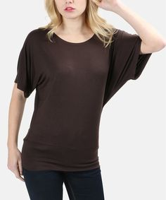 Take a look at this Dark Brown Dolman Tee today!