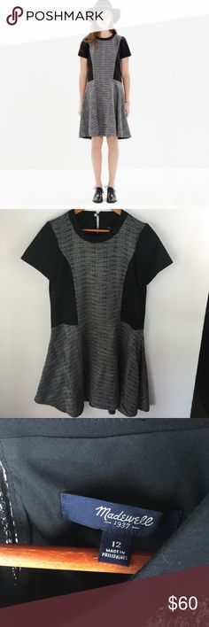 Madewell textured tribute shift dress grey black Cute grey and black shift dress. Thick and substantial fabric. Madewell Dresses